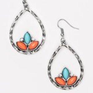 Lotus Laguna Earrings- Teal and Orange